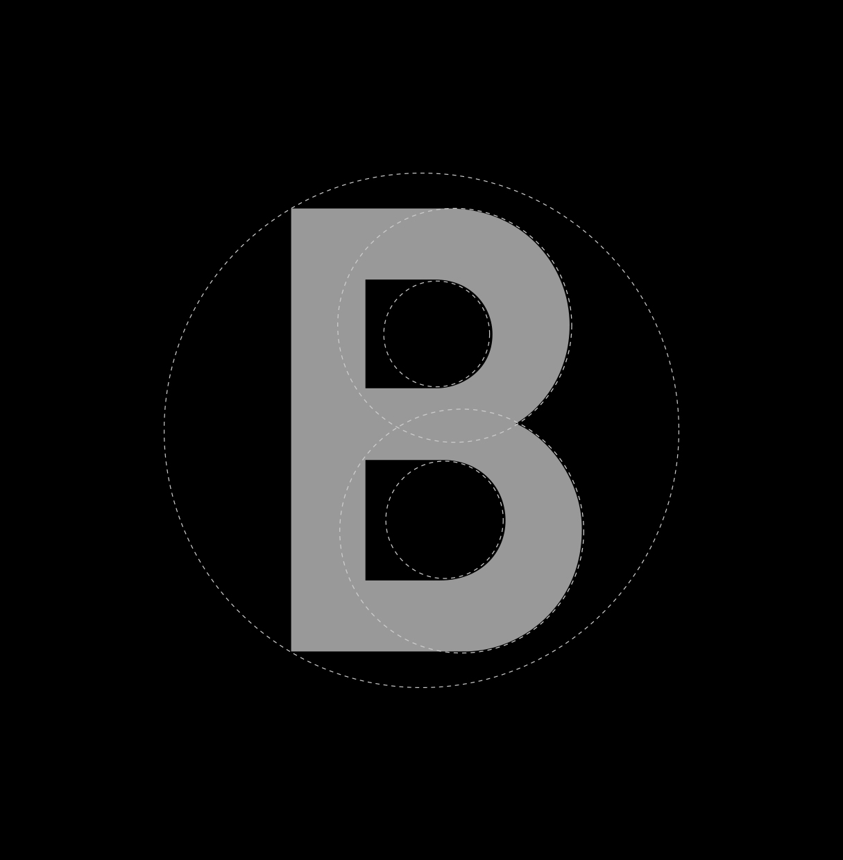 Construction of B in logo