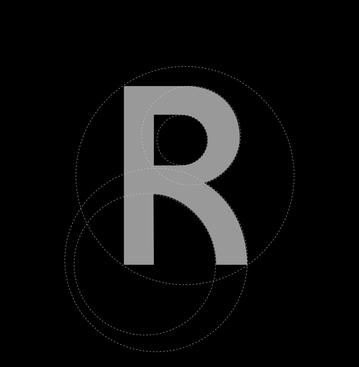 Construction of R in logo